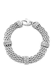 Polished Sterling Silver Oval Popcorn Chain Link Bracelet