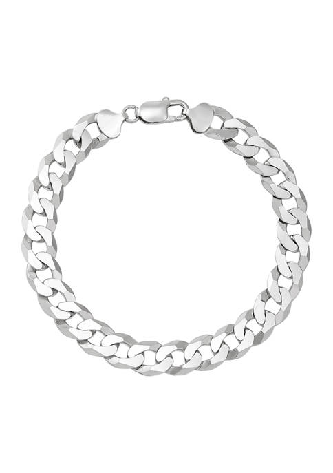 9.7 Millimeter Curb Chain Bracelet in Sterling Silver