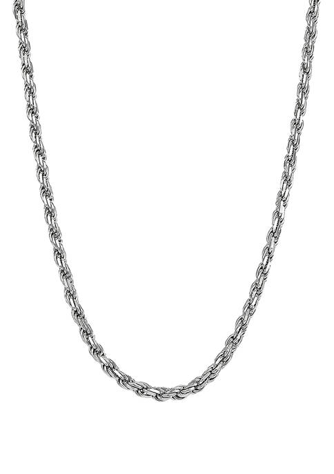 22 Inch Rope Chain Necklace in Sterling Silver