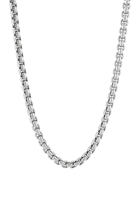 Sterling Silver Round Box Chain Necklace