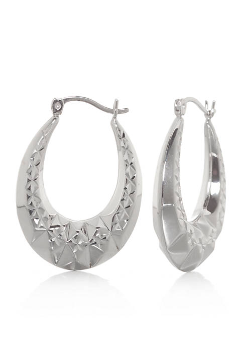 Belk & Co. Pyramid Hoop Earrings in Sterling