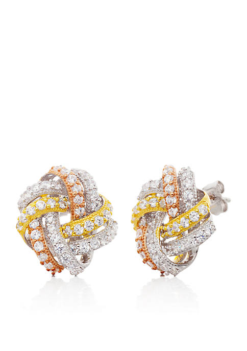 Cubic Zirconia Stud Earrings in Sterling Silver