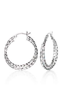 Double Twist Hoop Earrings in Sterling Silver