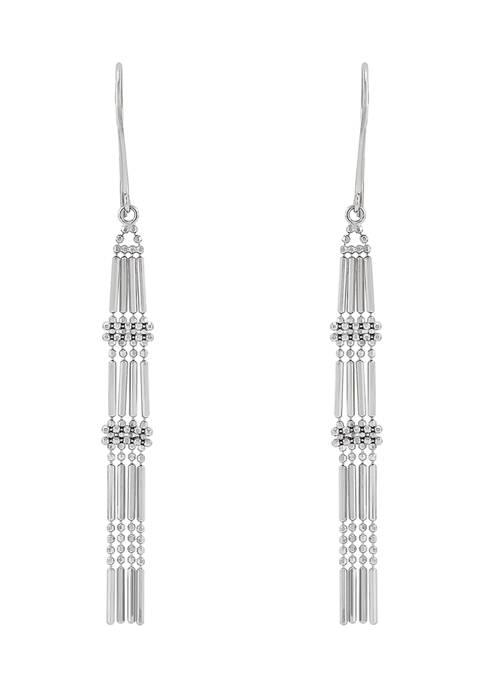 Beaded Fantasy Multi Row Drop Earrings in Sterling Silver