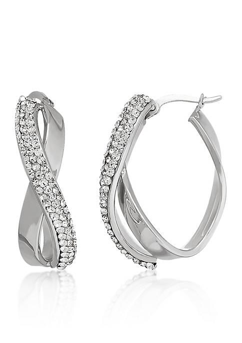 Sterling Silver Crystal Twist Hoop Earrings