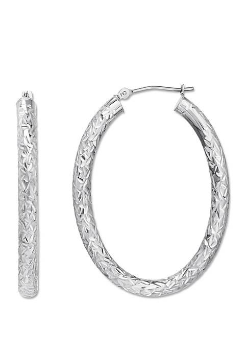 Sterling Silver Polished Diamond Cut Oval Crystal Cut Hoop