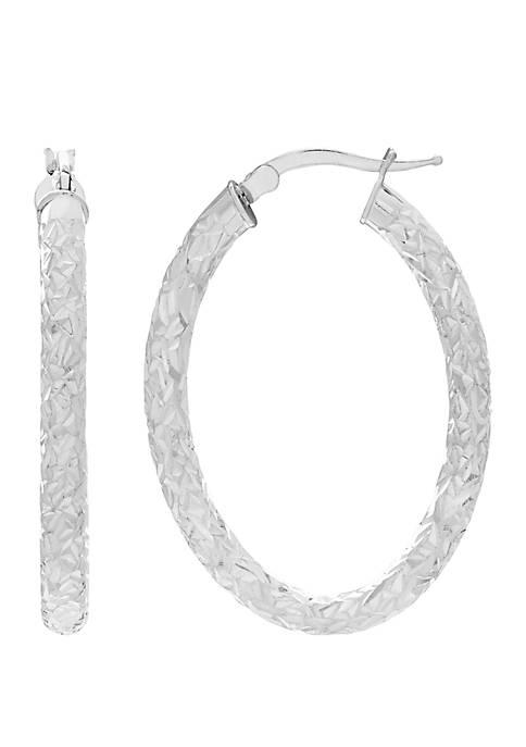 Belk & Co. Oval Crystal Cut Open Hoop
