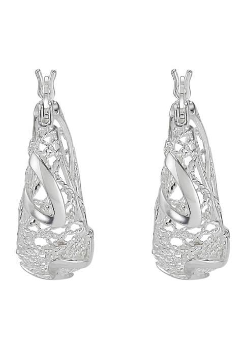 Round Gallery Hoop Earrings in Sterling Silver