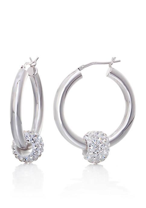 Belk & Co. Crystal Hoop Earrings in Sterling
