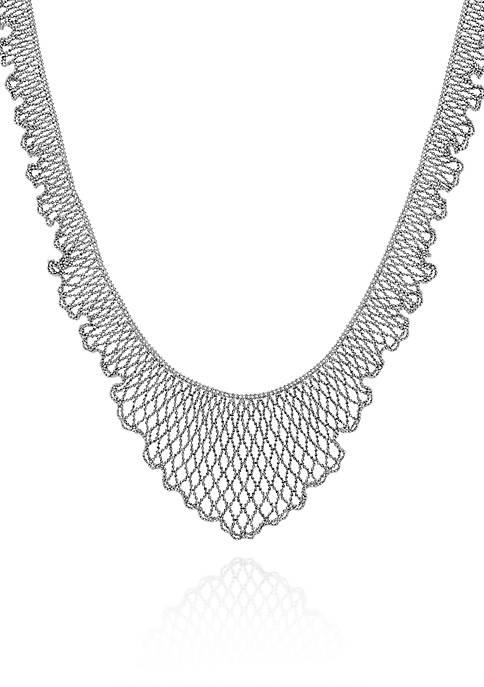 Sterling Silver Scalloped Bib Necklace