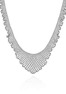 Sterling Silver Scalloped Bib Necklace