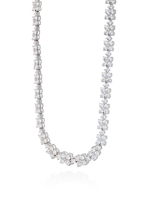 Cubic Zirconia Flower Necklace in Sterling Silver