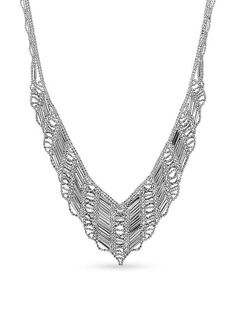 Sterling Silver Bead Statement Necklace