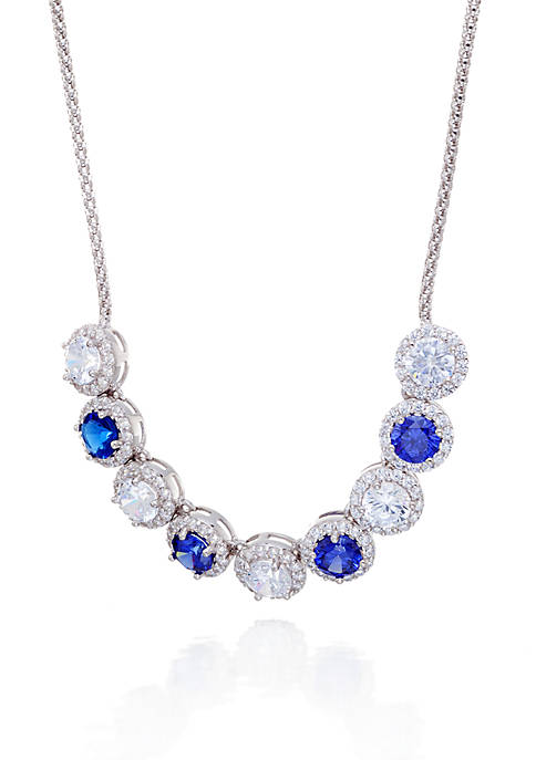 Blue and White Cubic Zirconia Necklace in Sterling Silver