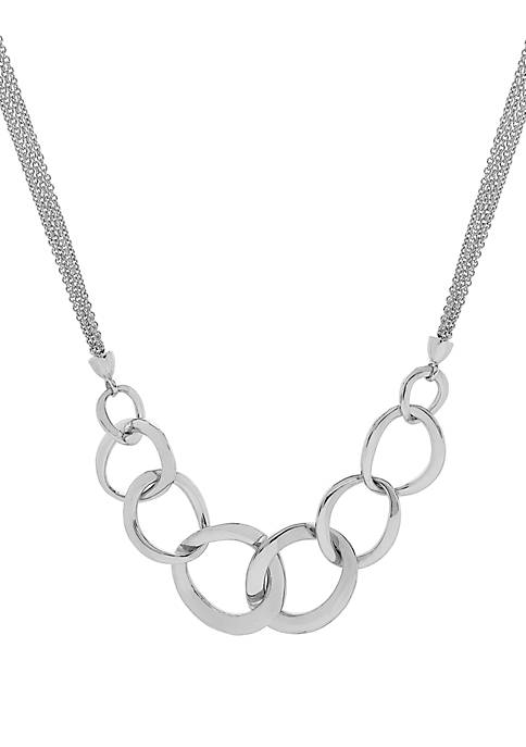 Polished Sterling Silver Multi-Chain Link Necklace