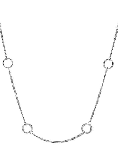 Sterling Silver Diamond Cut Open Circle Necklace