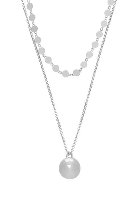 Beaded Double Layer Necklace in Sterling Silver