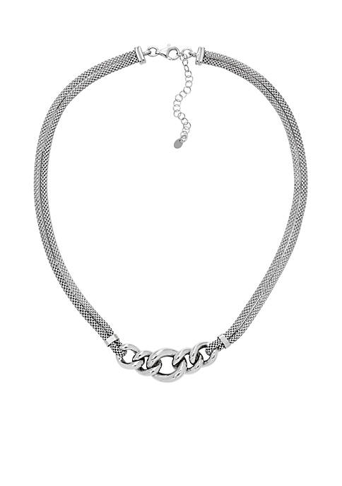 Oval Interlock Necklace in Sterling Silver