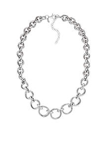 Sterling Silver Graduated Circles Interlock Necklace