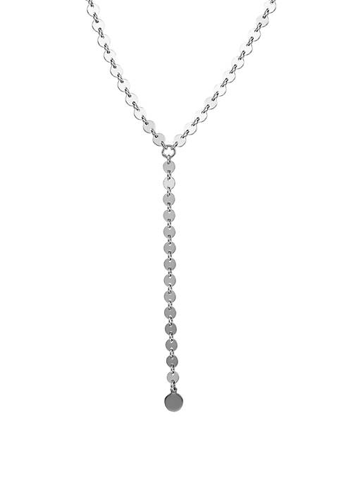 Lariat Disc Necklace In Sterling Silver