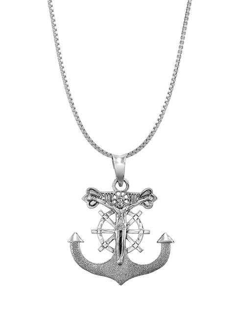 Anchor Cross Chain Necklace in Sterling Silver