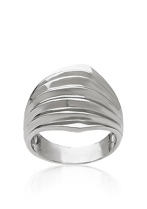 Sterling Silver Dome Ribbed Ring