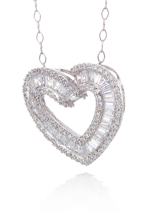 Belk & Co. Cubic Zirconia Open Heart Slide