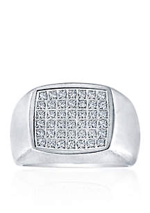 Polished Square Cubic Zirconia Ring in Stainless Steel