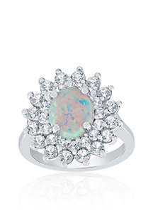 Created Opal and White Sapphire Ring in Sterling Silver