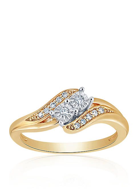 0.478 ct. t.w. Diamond Ring in 18k Yellow Gold Plated Silver