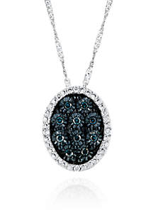 Belk & Co. 0.17 ct. t.w. Blue Illusion Diamond Pendant in Sterling Silver