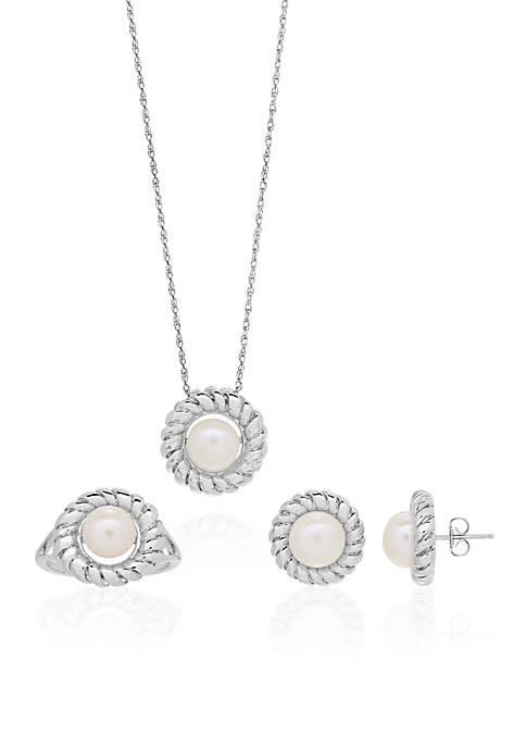 Belk & Co. Freshwater Pearl 3-Piece Pendant, Ring,