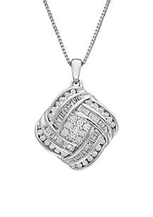 Belk & Co. 3/4 ct. t.w. Diamond Square Pendant Necklace in Sterling Silver