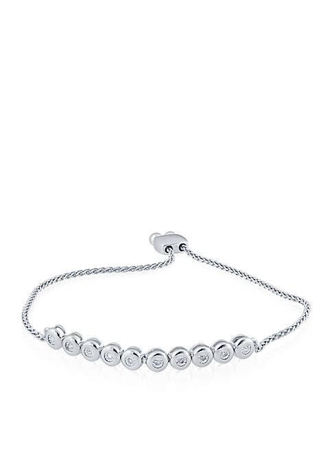 0.10 ct. t.w. Diamond Bar Bracelet in Sterling Silver