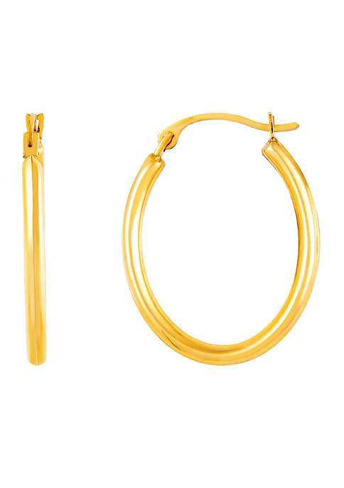 Oval Tube Hoop Earrings in 10K Yellow Gold