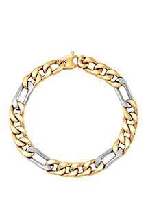Belk & Co. Men's Chain Bracelet in 10k Yellow Gold/Sterling Silver