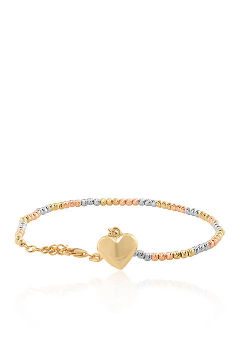 Belk & Co. Bead Heart Bracelet in 10K