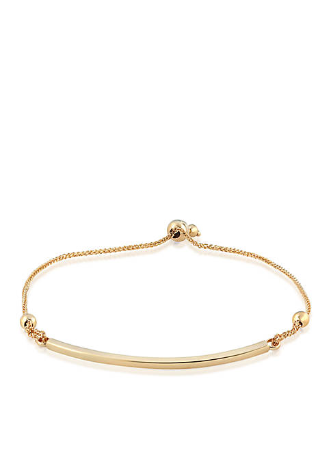 Bolo Bead with Curved Bar Bracelet in 10k Yellow Gold