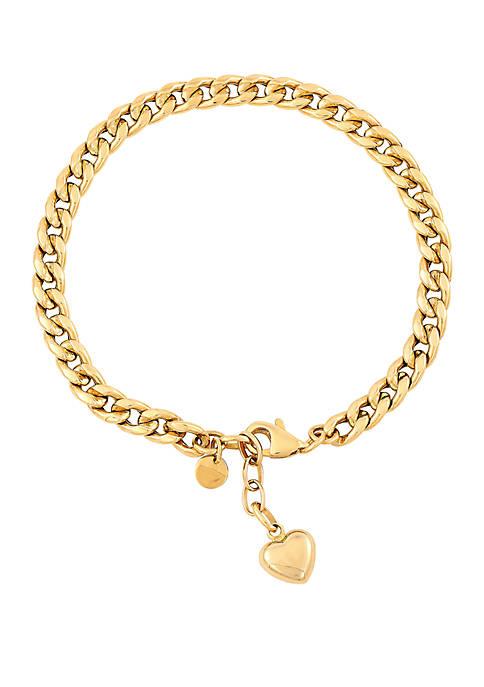 Belk & Co. Curb Chain with Heart Bracelet