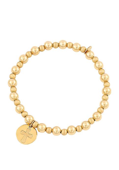 Belk & Co. Cross Beaded Bracelet In 10k