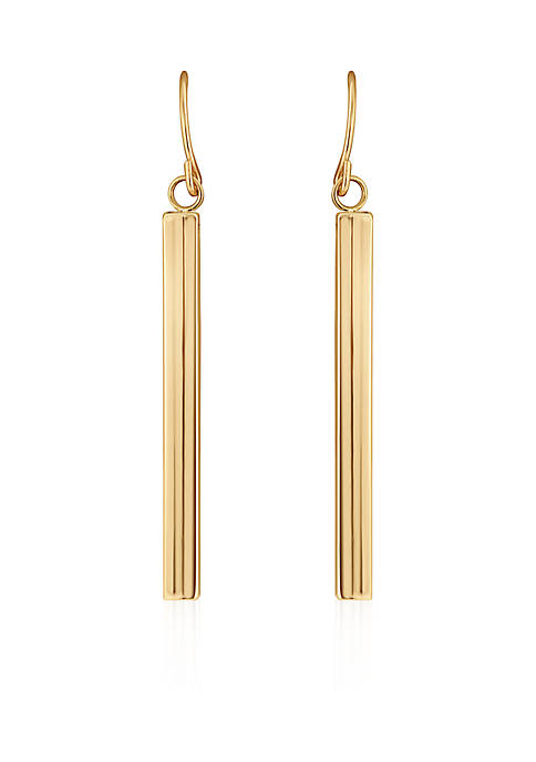 Polished Square Tube Drop Earrings in 10k Yellow Gold