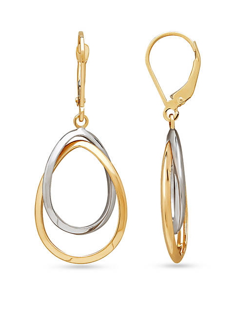 10K Yellow Gold and 10K White Gold Drop Earrings