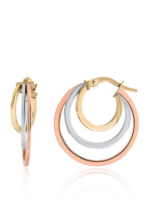 Belk & Co. Hoop Earrings in 10K Tri-Colored