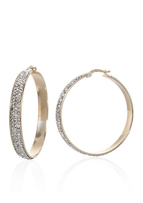 Belk & Co. Crystal Hoop Earrings in 10K