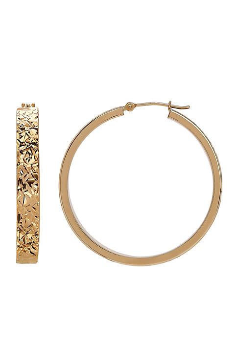 10K Yellow Gold Crystal Cut Hoop Earrings