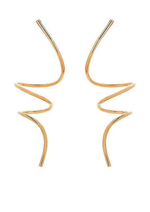 Belk & Co. Gold 10KY Spiral Linear Earrings