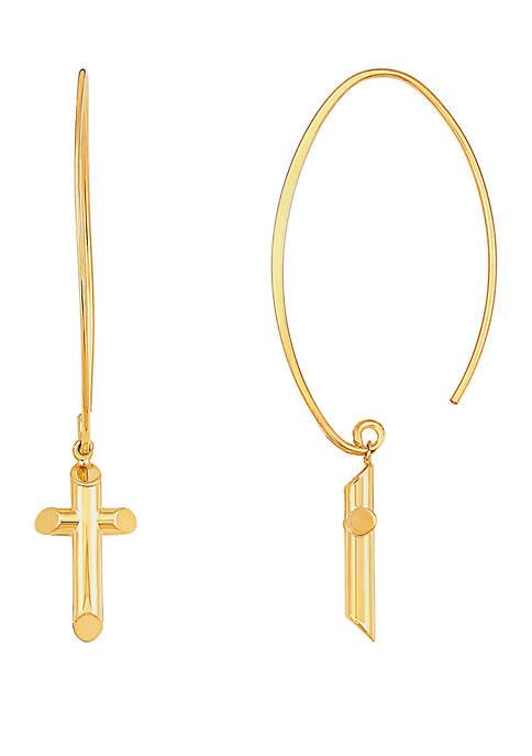 Belk & Co. Cross Earrings In 10k Yellow