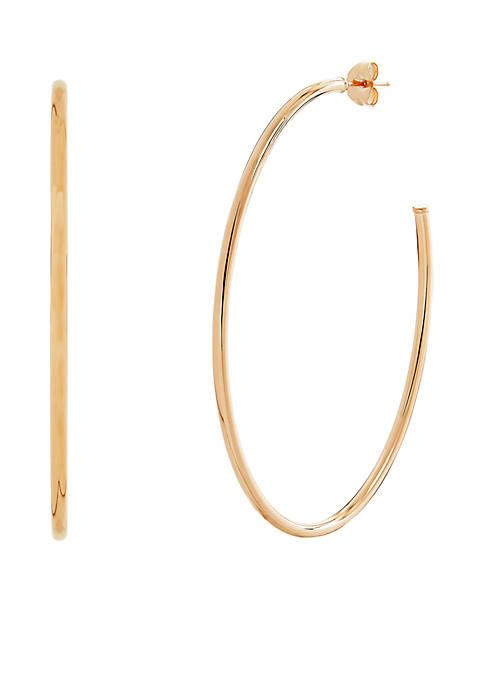 Polished Oval Hoop Earrings in 10k Yellow Gold