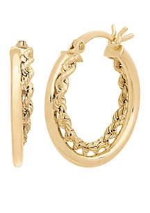 Rope Twist Hoop Earrings in 10k Yellow Gold