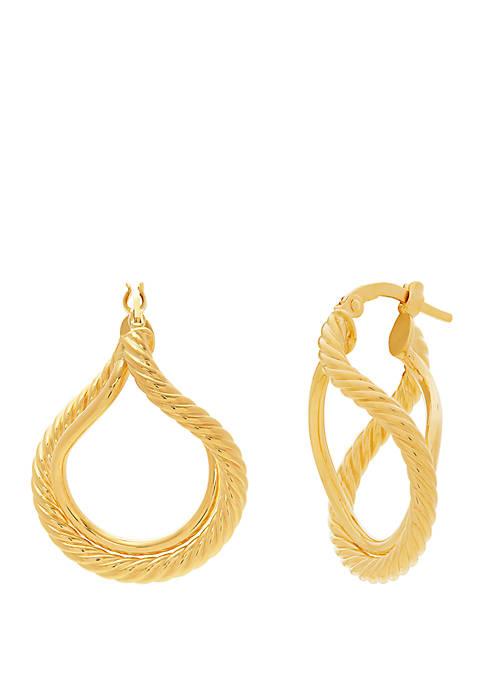 10K Yellow Gold Twisted Wave Interlocking Hoop Earrings
